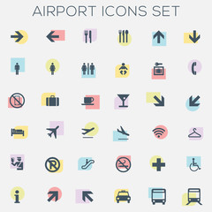 Colorful Silhouette Icons - airport, travel, tourism - vector