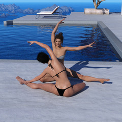 Two women exercising near a pool in the late afternoon light.