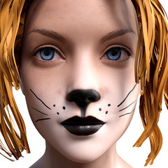 Illustration of a young woman wearing cat makeup