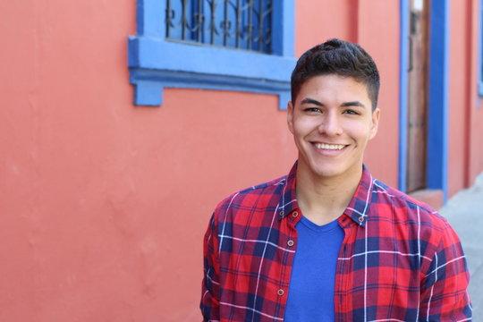 Healthy ethnic guy smiling headshot