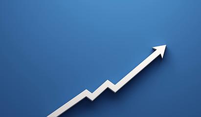 Graph Arrow of Improvement. 3D Render Illustration.