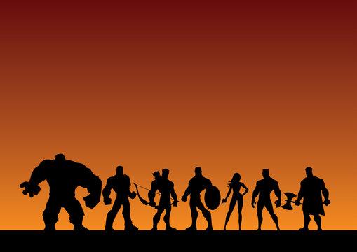 Conceptual illustration depicting a team of superheroes.