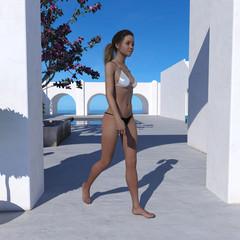 Young woman walking wearing a thong and bikini top