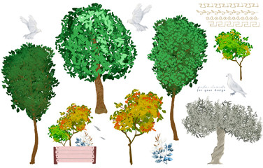 Trees illustration clip art and dove. Forest woodland. Green and yellow colors on white background