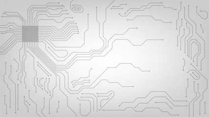 Background with microcircuits and a processor, abstract technological white background, motherboard