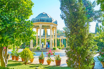 The alcove of Hafez Tomb in Mussala Gardens, Shiraz, Iran