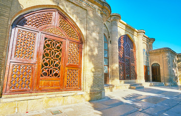 Carved wooden Persian screeens, Hafezieh, Shiraz, Iran