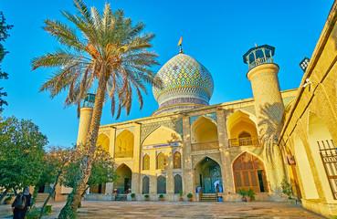 The facade of Imamzadeh Ali Ibn Hamzeh Holy Shrine, Shiraz, Iran