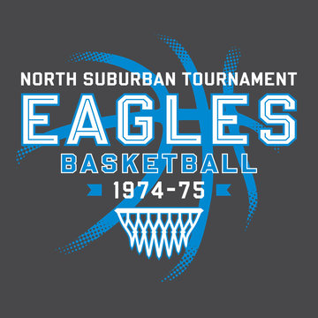 Eagles Basketball T-Shirt Design with Easily Modifiable Text