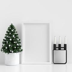 Mock Up Poster Frame White Interior Scandinavian Christmas Winter Decoration, 3D Rendering, 3D Illustration
