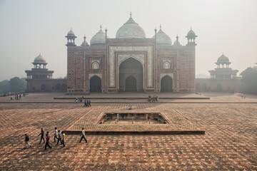 The gates to Taj Mahal in the smog, Agra, India. Air polution Wall mural