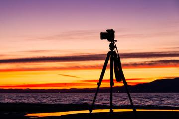 Camera on a Tripod and Beautiful Landscape