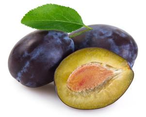 Fresh plum on white background