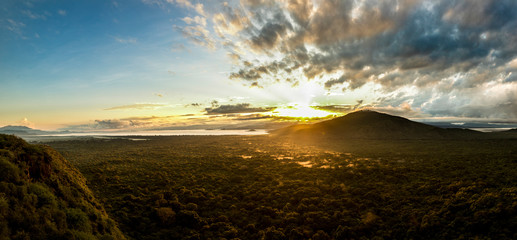 High angle panoramic view of Nechisar National Park and Abaya Lake in Ethiopia at sunrise.