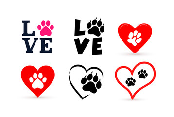 Set of Love with pet footprint. Funny logo saying. Design for scrapbooking, posters, textiles, gifts, t shirts. Vector illustration. Isolated on white background.