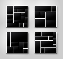 Set of templates photo collage image frames for photo or Picture montage. For your design picture montage abstract. Vector illustration. Isolated on gray background.