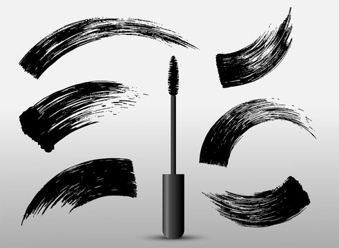 Set of make-up cosmetic mascara brush stroke texture design. Realistic mascara smear template. Mascara eyelashes. Hand drawn lash scribble swatch. Vector illustration. Isolated on white background.