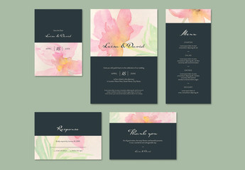 Watercolor Wedding Invitation Layout Set