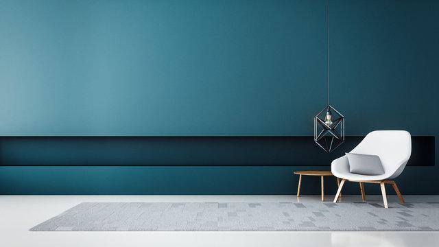 chair & Blue wall modern living room / 3D render interior