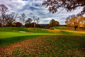 Aluminium Prints Autumn autumn in the Golf Course