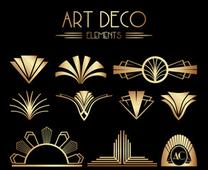 Geometric Gatsby Art Deco Ornaments or Decoration Elements