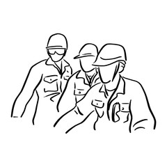 three engineer worker with hard hat vector illustration sketch doodle hand drawn with black lines isolated on white background