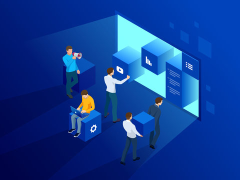 Isometric site creation concept. Webpage design and development, people are working on creating a website, applications, transferring information. Vector illustration