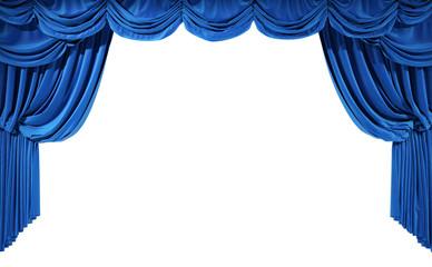 Blue velvet curtains isolated on white background.