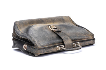 Black retro briefcase, leather flapover, covered with dust, isolated on white background with shadow