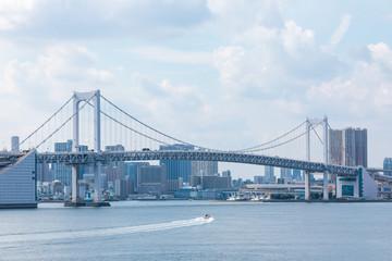 (東京都ー都市風景)富士見橋から見るレインボーブリッジ2