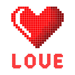 Red pixel heart with the inscription Love. Close-up. Isolated object on white background. Vector image.