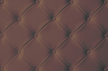 Dark brown chocolate upholstery sofa texture background concept for clean vintage leather furniture pattern wallpaper, closeup interior elegant armchair mattress surface detail, real tuft material.