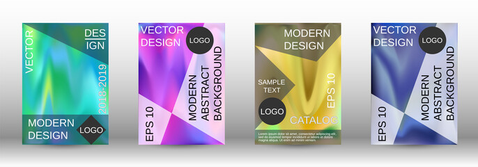 Set for liquid. Holographic abstract backgrounds.