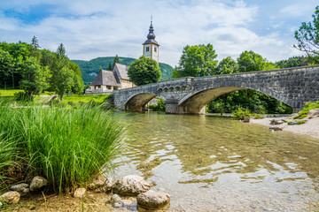 Beautiful Slovenia on the shores of Bohinj Lake