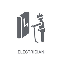 Electrician icon. Trendy Electrician logo concept on white background from Professions collection