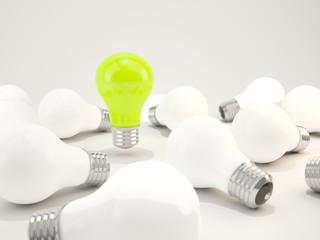 Green light bulb with white bulbs
