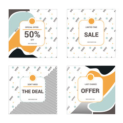 4 Modern promotion square layout templates for social media, mobile apps or banner design.