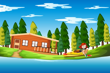 Girl on holiday lake house