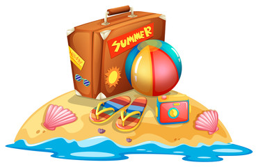 Many summer beach equipment
