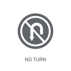 No turn sign icon. Trendy No turn sign logo concept on white background from Traffic Signs collection