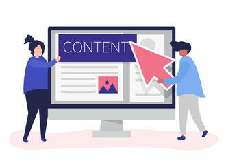 People with digital content creation concept