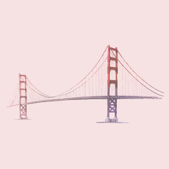 The Golden Gate Bridge watercolor illustration