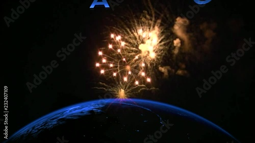 Background Of Animated Planet Earth With Fireworks Modern With