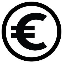 Euro currency icon black and white logo.eps