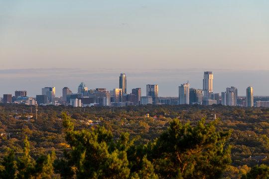 Austin TX skyline at sunset