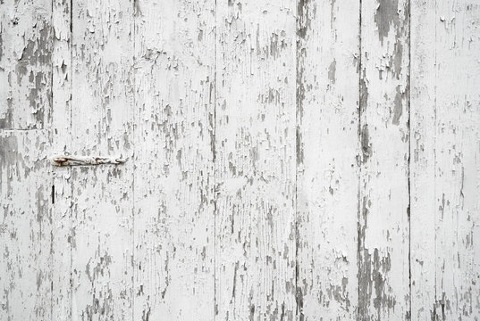 Old painted weathered wood textured background with long boards lined up. Wooden planks on a wall or floor with grain and rough vintage texture. Light neutral flat faded and washed out tones.