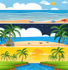 Set of summer beach landscape