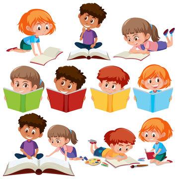 Set of kid reading book