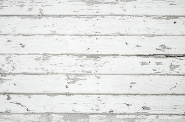 Faded white weathered wood surface with long boards lined up. Wooden planks on a wall or floor with grain and texture. Light neutral flat faded tones. Wall mural