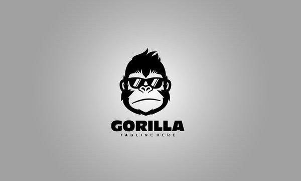 Cool Gorilla logo - monkey head vector template